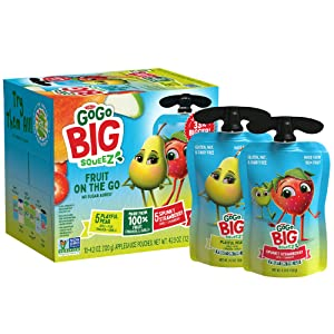 GoGo BIG squeeZ Playful Pear & Spunky Strawberry, 4.2 oz. (10 Pouches) - Bigger, Tasty Kids Snacks Made from Pears and Strawberries - Gluten Free Snacks for Kids - Nut & Dairy Free - Vegan Snack