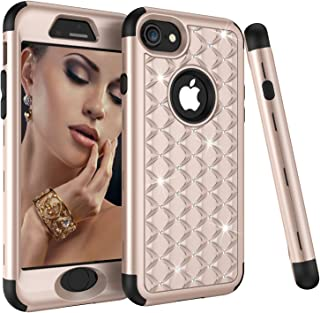 iPhone 8 Case, iPhone 7 Case, Dooge Diamond Studded Bling Rhinestone Shockproof Hybrid Armor Defender Full-body Rugged High Impact Protective Cover for Apple iPhone 7/8 - Golden/Black