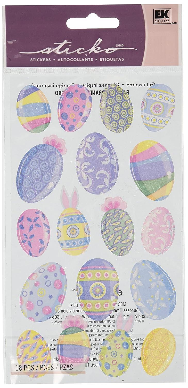 Sticko 442050 Stickers, Vellum & Glitter Multicolor Easter Eggs