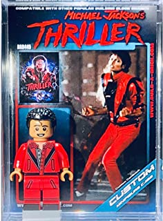 BuildABrick Michael Jackson Thriller Custom Minifigure w/ Display Case UV Collectible Card for Halloween Zombie minifig Collectors 445b