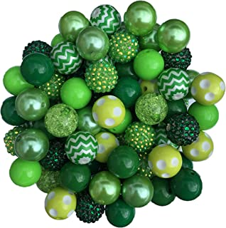 20mm Green Mix 30 Count Chunky Bubble Gum Acrylic Beads Bulk Wholesale Pack Necklace Kit