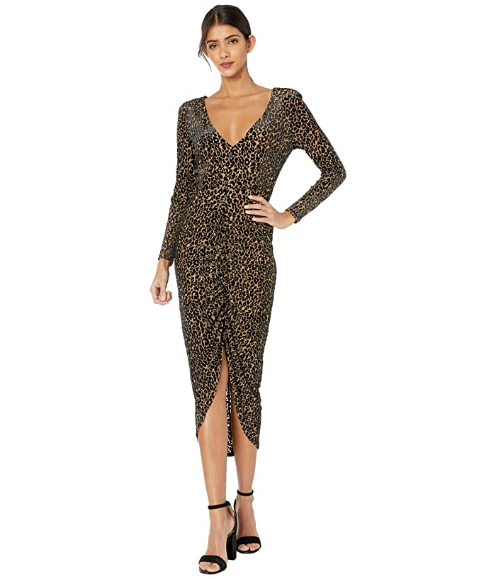 BB Dakota  Better To Burnout Leopard Velvet Knit Dress (Light Camel) Womens Dress