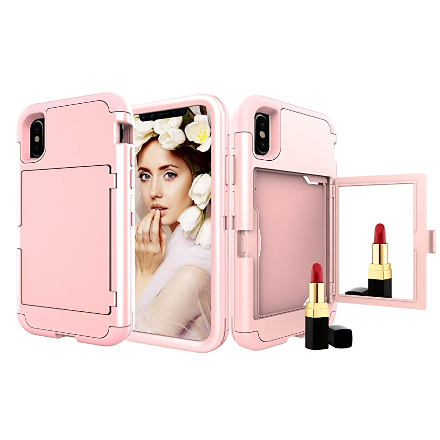 iPhone Xs Case, iPhone X Case, Solomo Wallet Case Design with Hidden Back Mirror and Card Holder Heavy Duty Protection Shockproof Armor Protective Case for iPhone Xs/iPhone X 5.8'' (Rose Gold)