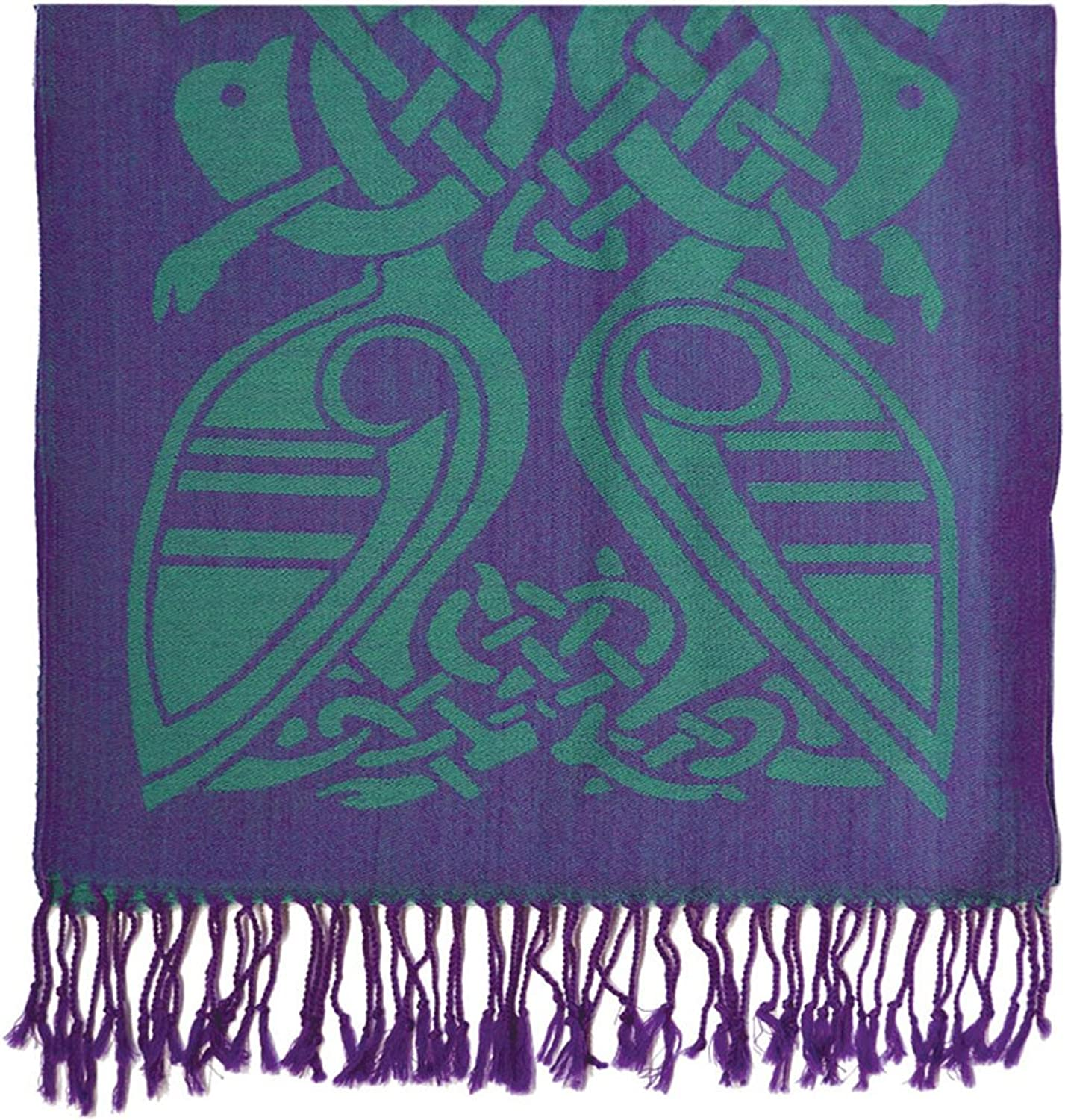 Patrick Francis Purple and Green Wool Scarf for women