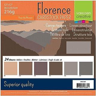 Vaessen creative 2923-007 Florence Papier Cartonné, Couleurs Bruns, 216g, 30,5 x 30,5 cm, 24 Feuilles, Surface Texturée, p...