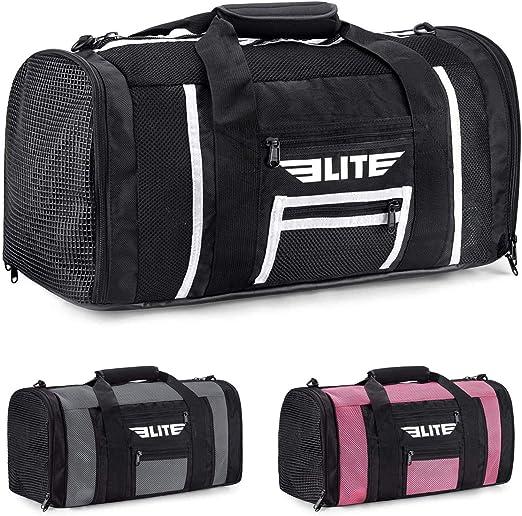 Elite Sports Boxing Gym Duffle Bag for MMA, BJJ, Jiu Jitsu Gear, Duffel Athletic Gym Boxing Bag (Black/White, Small)