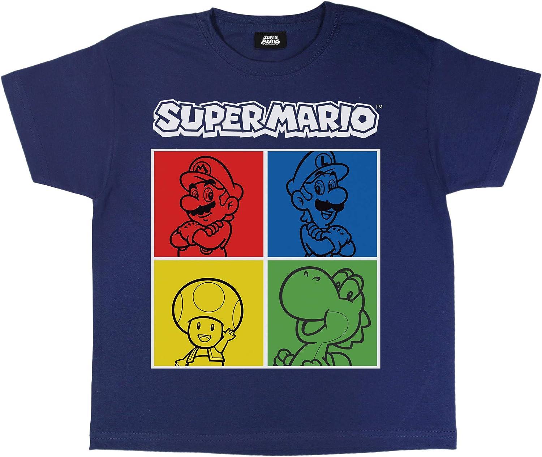 1980 Video Gioco Classico Girocollo Graphic Tee Regalo di Compleanno Idea for Girls Merchandise Ufficiale et/à 5-15 Super Mario Piastrelle di Caratteri Ragazze T-Shirt