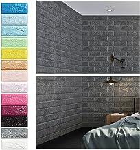 KINLO 5 Piezas 77 x 70 cm Pegatina de Pared 3D PE Espuma DIY 3D Ladrillo Pegatina Pared Sticker Autoadhesivo Wall Paneles Impermeable Azulejos de la Pared del Arte para Decoración(Gris Claro)