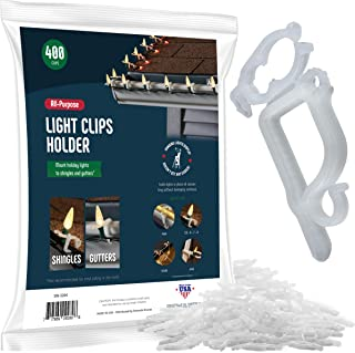 SEWANTA All-Purpose Light Clips Holder - Set of 400 Christmas light hooks - Mount holiday lights to shingles and gutters - works with Rope, Mini, c-7-6-9, icicle lights - USA made - No tools required