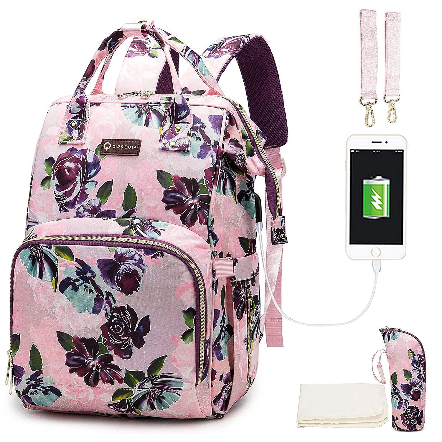 Floral Diaper Bags for Baby Girl,Baby Bag with USB Charging Port Stroller Straps and Insulated Pocket for Women/Girls/Mum/Toddler by Qwreoia (Rose Flower Pattern)