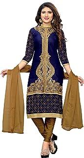 Glory Sarees Women's Semi Stitch Salwar Suit Material (salwar_suit_106_blue)