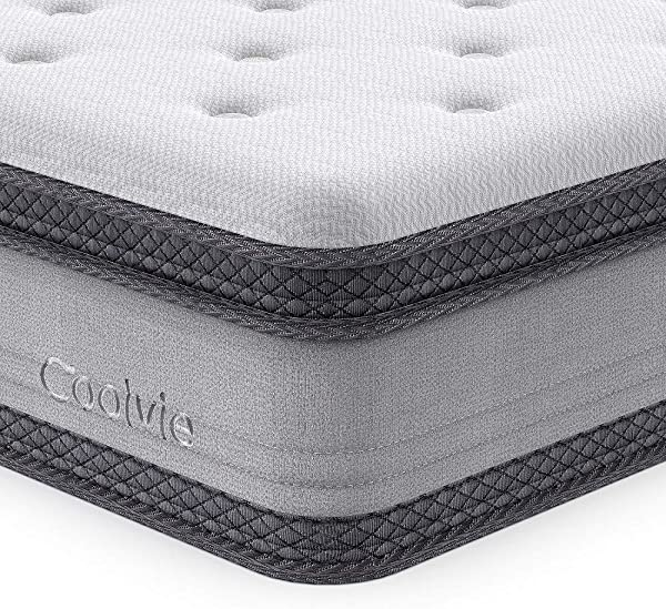 Queen Mattress 10 Inch Coolvie Memory Foam Innerspring Hybrid Mattress In A Box Individually Pocket Spring For Motion Isolation CertiPUR US Certified No Risk 100 Night Trial 10 Year Warranty