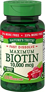 Biotin 10000mcg | 120 Fast Dissolve Tablets | Maximum Strength | Hair Skin and Nails Supplement | Natural Berry Flavor | V...