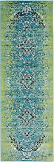 Luxury Modern Vintage Inspired Overdyed Area Rugs Blue 2' x 6' FT Artis Designer Rug Colorful Craft Rugs and Carpet