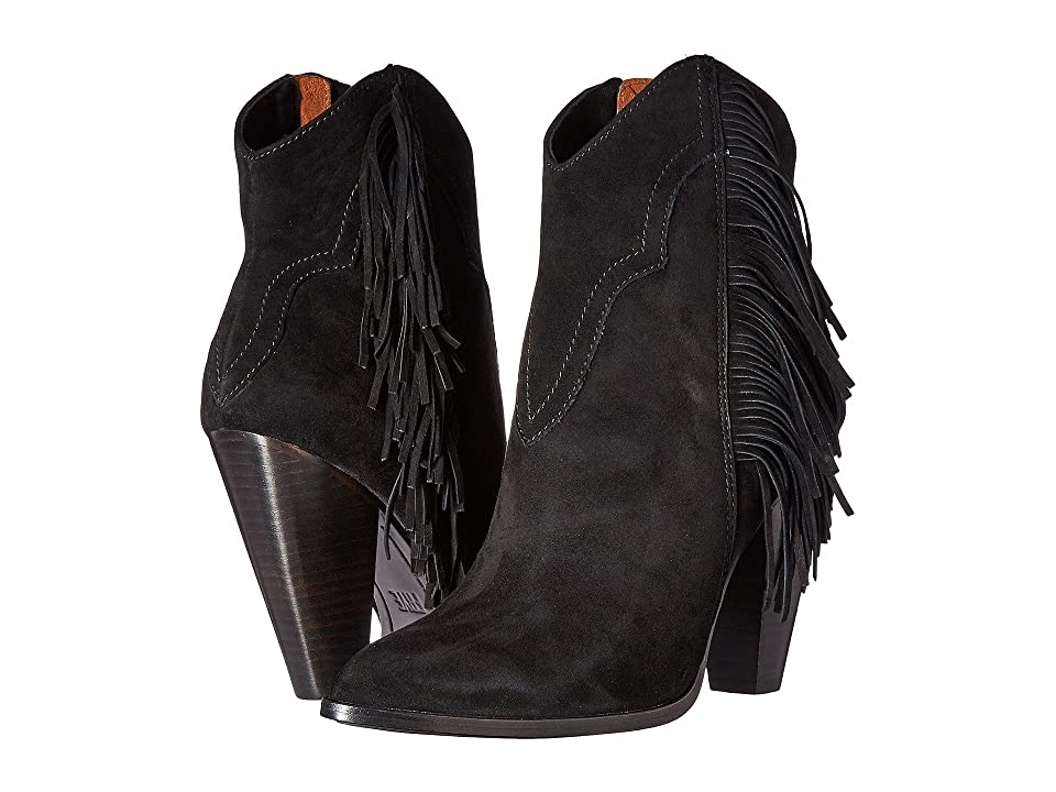 Frye Remy Fringe Short (Black Suede) Women