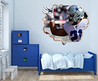 Ezekiel Elliot Dallas Cowboys - 3D Smashed Wall Effect - Wall Decal for Home Nursery Decoration (Wide 20