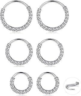 CASSIECA 6 Pcs 20G 6mm-10mm Stainless Steel Cartilage Hoop Earrings Nose Rings CZ Septum Daith Helix Tragus Body Piercing ...