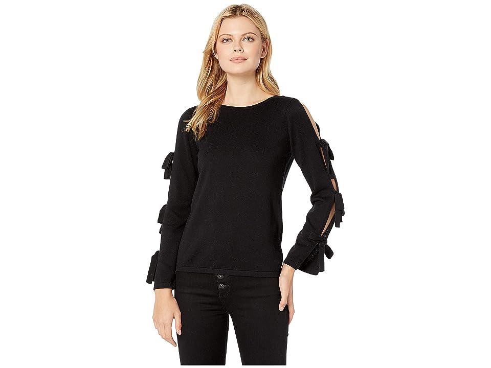 CeCe Slit Bell Sleeve Sweater w/ Bows (Rich Black) Women