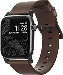 NOMAD Modern Strap for Apple Watch 40mm/38mm | Rustic Brown Horween Leather | Black Hardware