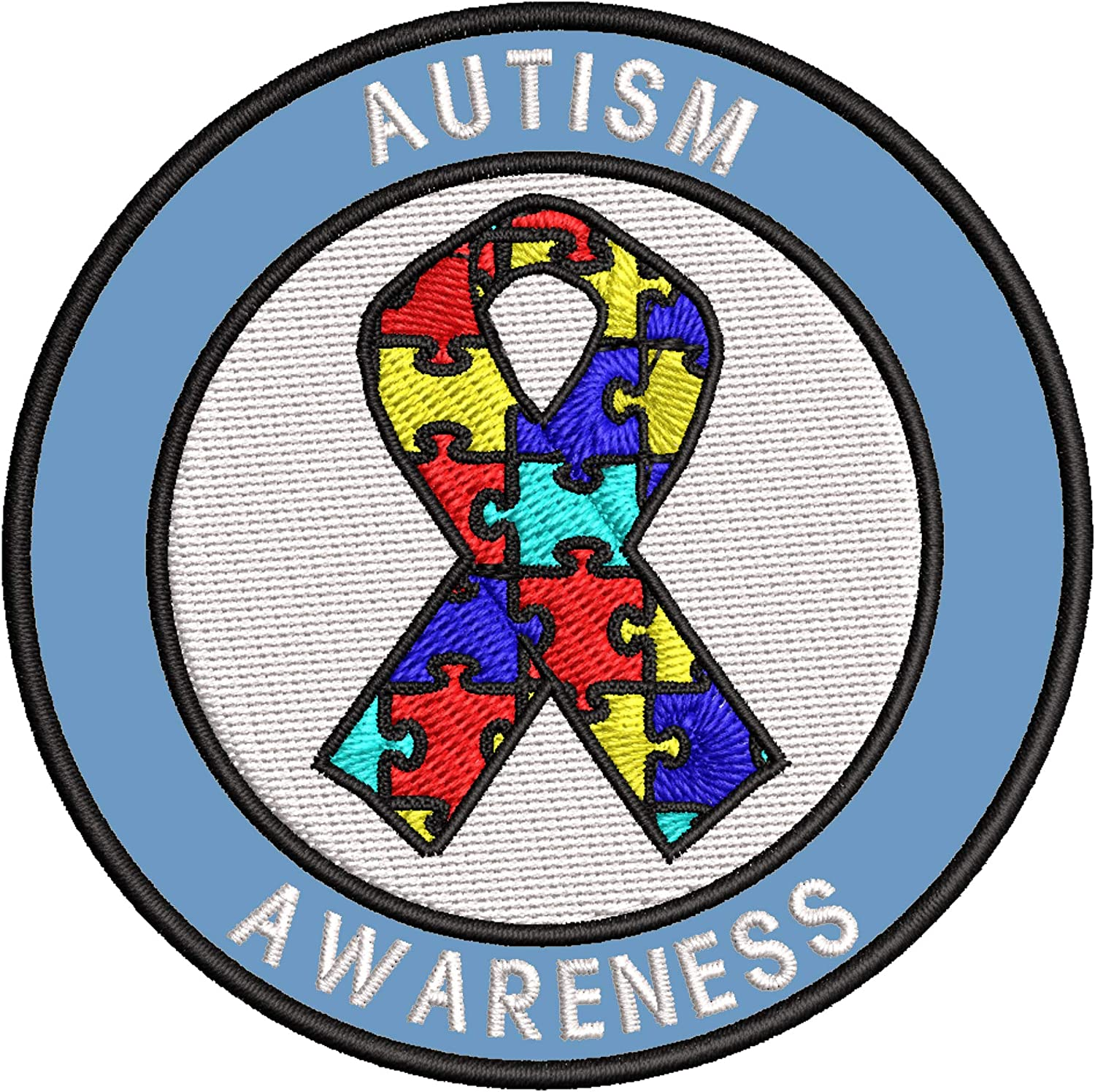 Autism Awareness Support Puzzle Ribbon Sales for sale Embroidered 3.5