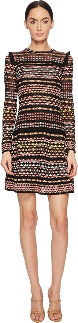 M Missoni Lurex Lace Long Sleeve Dress