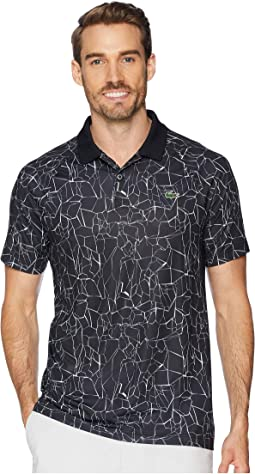 Sport Novak Djokovic Short Sleeve Ultra Dry Polo W/ All Over Net Print & Ergnomic Back