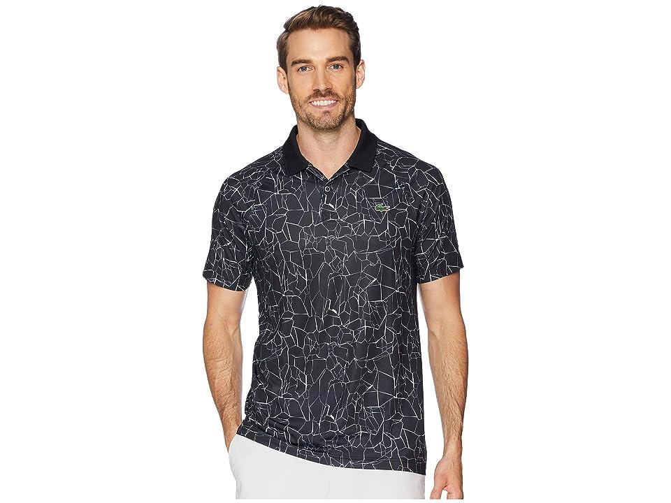Lacoste Sport Novak Djokovic Short Sleeve Ultra Dry Polo W/ All Over Net Print Ergnomic Back (Black/White) Men