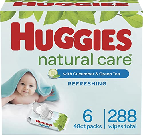 Baby Wipes, Huggies Natural Care Refreshing Baby Diaper Wipes, Hypoallergenic, Scented, 6 Flip-Top Packs (288 Wipes T...