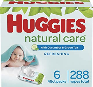 HUGGIES Natural Care Refreshing Baby Wipes Scented Flip Lid Packs 288 Wipes Total, White, Cucumber, 6 Count