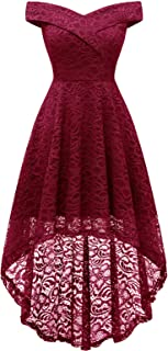 Homrain Abiti da Donna Elegante off Spalla Abiti a Pieghe Abiti da Sposa in Pizzo Alto Basso Abito da Cerimonia da Sera pe...
