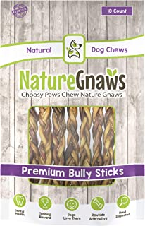 Nature Gnaws Braided Bully Sticks 11-12 inch - 100% Natural Beef Dog Chews