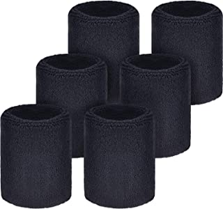 WILLBOND 6 Pack Wrist Sweatbands Sports Wristbands for Football Basketball,  Running Athletic Sports
