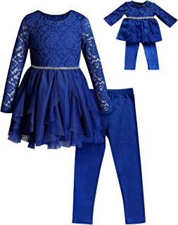 Dollie & Me Girls' Apparel Knit Legging Set with Matching Doll Outfit