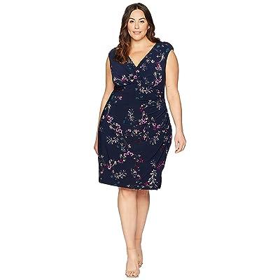 LAUREN Ralph Lauren Plus Size Adara Avendida Floral (Lighthouse Navy/Purple Multi) Women