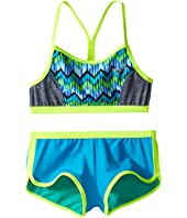 Speedo Kids - Digi Zigzag Heather Two-Piece Boyshorts Swimsuit Set (Big Kids)