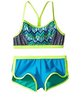 Digi Zigzag Heather Two-Piece Boyshorts Swimsuit Set (Big Kids)
