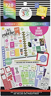 The Happy Planner Sticker Value Pack - Watercolor Theme - Multi-Color & Gold Foil - Great for Projects, Scrapbooks & Albums - 30 Sheets, 1078 Stickers Total