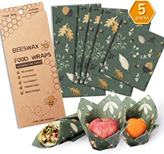 Beeswax Wrap Assorted 5 Packs, Eco Friendly Reusable Food Wraps, Biodegradable, Sustainable Plastic Free Food Storage- 1 Small, 3 Medium, 1 Large- Say Goodbye to Plastic