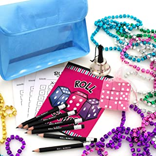 Bunco Game Kit with Gift - 1 doz Dice Mardi Gras Beads in Assorted Colors with Game Storage Bag (Sorry - Bag Color Choice is