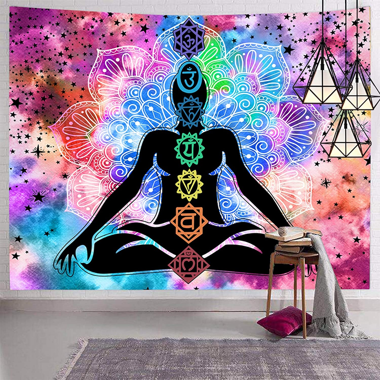 Hexagram Seven Chakra Tapestry Trippy NEW before selling Yoga Meditation W overseas