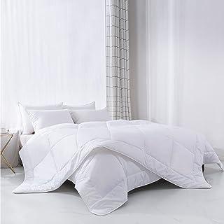Everspread All-Season Down Alternative Comforter Duvet Insert, 100% Natural Cotton Shell, Soft Hypoallergenic Microfiber Fill, Quilted Design, Corner Duvet Tabs – White, Queen Size