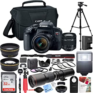 Canon EOS Rebel T7i DSLR Camera with EF-S 18-55mm f/3.5-5.6 Zoom Lens Kit + 500mm Preset f/8 Telephoto Lens + 0.43x Wide Angle, 2.2X, Deluxe Filter Kit Pro Bundle