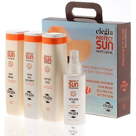 Elegia - Kit Protezione Solare Capelli e Dopo Sole 4 in 1 | Shampoo Balsamo Crema e Olio Dopo Sole | Ripara e Protegge dal Sole