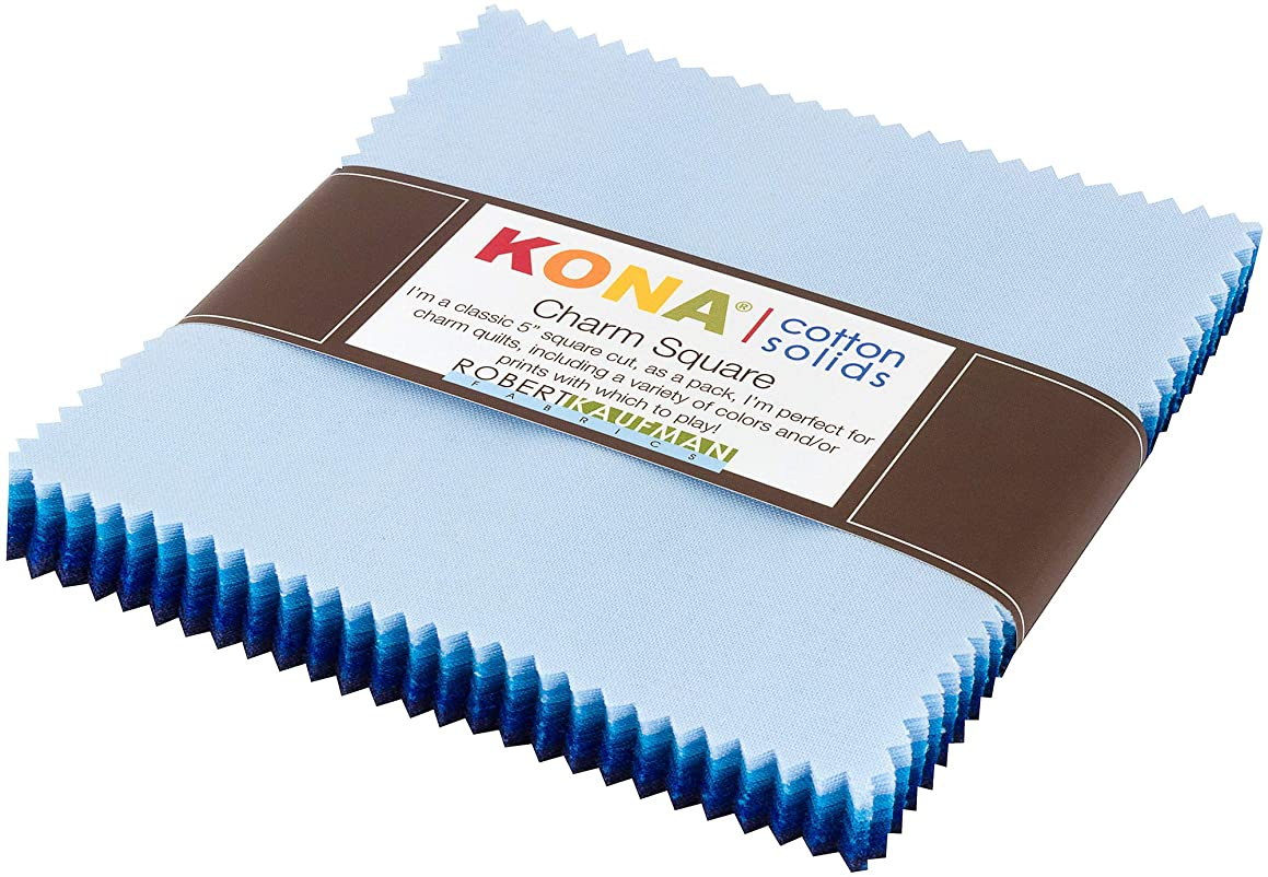 Kona Cotton Solids Waterfall Charm Square 42 5-inch Squares Charm Pack Robert Kaufman CHS-732-42