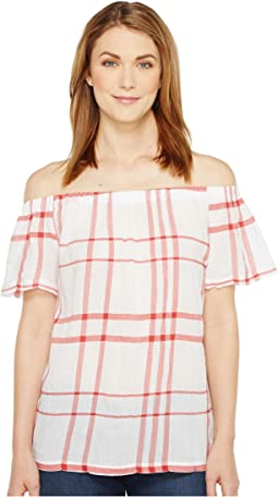 05efc174f11 Off the Shoulder Timeless Plaid Blouse