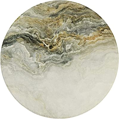 Lahome Marble Area Rug - 4' Diameter Faux Wool Non-Slip Area Rug Accent Distressed Throw Rugs Floor Carpet for Living Room Bedrooms Laundry Room Decor (Round-4' Diameter, Marble)