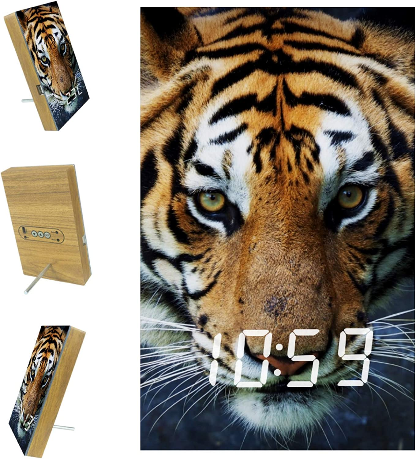 Zuyoon Digital 5 ☆ popular Alarm Clock for Cheap mail order sales USB Animal Charger Bedrooms Tiger