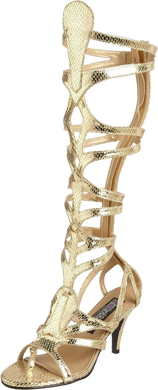 Rmerin Kostüm Stiefel mit Schlangenmuster Gold