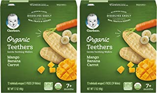 Gerber Organic Teethers Gentle Teething Wafers, Mango Banana Carrot, 1.7 OZ (Pack of 2)
