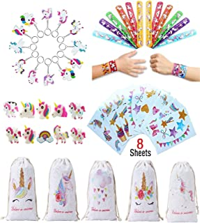 Unicorn Party Favor for Kids(39 Pack)-Unicorn Keychains-Unicorn Slap Bracelets-Unicorn Rings and Unicorn Drawstring Bags-Birthday Party Supplies